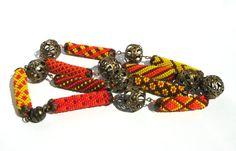 Beaded croshet rope necklace - Seed beads jewelry - Geometric pattern - Afrika - Multicolor necklace - red orange yellow braun - Beadwork