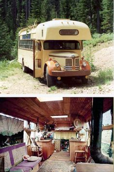 idea: move roof up to bring interior height to total vehicle height will come to under limit) School Bus Camper, Rv Bus, Camper Life, Bus Motorhome, Vintage Motorhome, Vintage Rv, Vintage Trailers, Camper Caravan, Truck Camper
