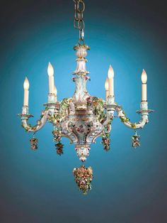 Meissen Porcelain Six-Light Rococo Style Chandelier | From a unique collection of antique and modern chandeliers and pendants at https://www.1stdibs.com/furniture/lighting/chandeliers-pendant-lights/