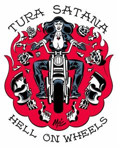 Tura Satana Hell on Wheels by illustrator Mitch O'Connell