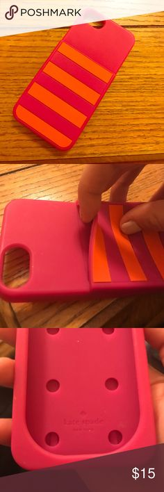 Kate Spade IPhone 5S Case !! 🌸 Adorable Kate Spade case! Rarely used in amazing condition! Has wallet slip on back! Pink n orange Stripes! 💝💝💝 kate spade Accessories Phone Cases