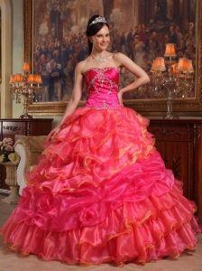 7d7ab4547cc Elegant Hot Pink Quinceanera Dress Sweetheart Taffeta and Organza Beading Ball  Gown Big Dresses