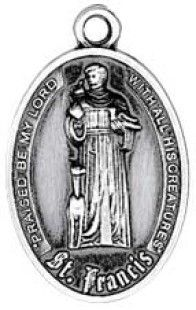 St. Francis of Assisi pet id tag. looks over your pet.