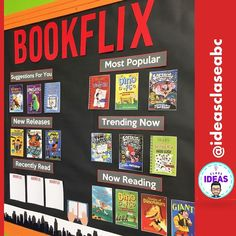 BOOKFLIX-Book report and display/ Ficha lectura-mural/Back to school/ BilingualYou can find Classroom displays . Primary Classroom Displays, Classroom Display Boards, Teaching Displays, Class Displays, Classroom Themes, School Display Boards, School Library Decor, School Library Displays, Middle School Libraries