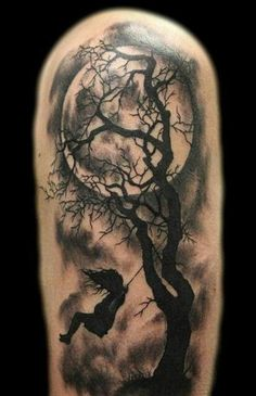 tree tattoo designs (23) Loving the moon...& silhouette of the trees...