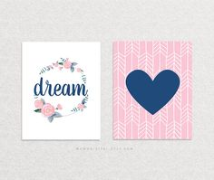 Hey, I found this really awesome Etsy listing at https://www.etsy.com/listing/289411723/sale-set-of-2-dream-quote-navy-blue-pink