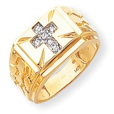 14k Yellow Gold Mens Diamond Cross Ring Width 5 to 10 MM (tapered)