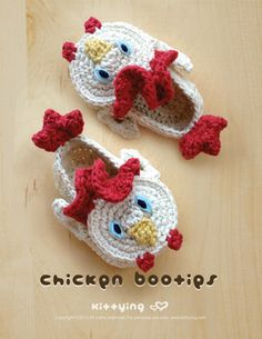 Chicken Baby Booties Crochet PATTERN by Kittying.com / mulu.us