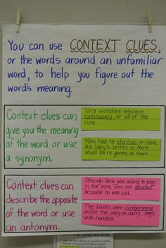 Context clues anchor chart