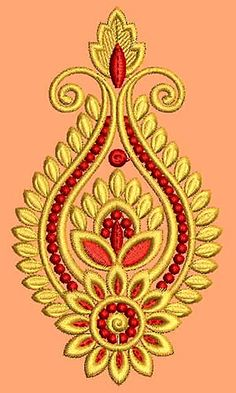 New Border Embroidery Design 18341 Border Embroidery Designs, Embroidery Motifs, Machine Embroidery Patterns, Beaded Embroidery, Stencil Designs, Paint Designs, Hand Work Blouse Design, Maggam Work Designs, Hand Embroidery Dress