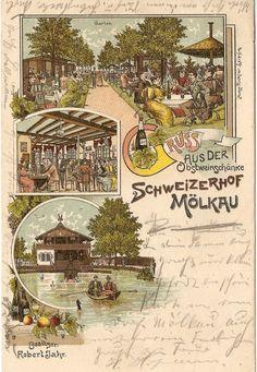 Leipzig,Gruss aus dem Schweizerhof Mölkau,Obstweinschänke,Gaststätte,Ruderboot