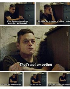 I remember pausing after this scene,bi couldn't continue with the episode. The scene left me destroyed, i was crying so badly because i related to that kind of loneliness. It was an amazing scene, Rami Malek delivered such an amazing performance