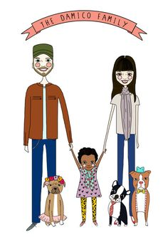 Custom Family Portrait, Custom Portrait, Custom illustration, Custom Family illustration, watercolor and ink