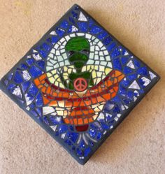 Area 51 Alien UFO mosaic stepping stone,  Made by Lisa.