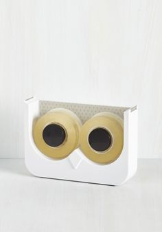Let's Just Wing It Tape Dispenser. Come impromptu crafts or inspired poster-hanging, this owl tape dispenser is your right hand avian! #white #modcloth