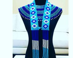 Blue choker necklace with blue shirt length necklace Xhosa Attire, African Attire, African Dress, African Clothes, African Beads Necklace, African Jewelry, Beaded Cape, African Colors, Blue Choker