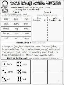 Singular verbs - interactive printables