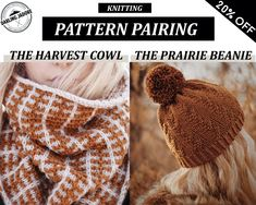 KNITTING PATTERN BUNDLE ⨯ Easy Knit Patterns, Knitted Cowl and Beanie Knitting Patterns ⨯ Knit Cowl Pattern, Digital Knitting Patterns