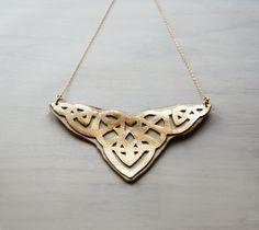 Ethnic Statement Necklace, Gold Arabesque necklace, leather cutout necklace. $65.00, via Etsy.