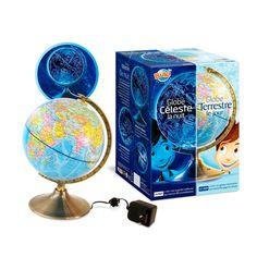 Globe jour et nuit - La nuit venue, il s'illumine automatiquement et affiche 88 constellations - 39,95 €