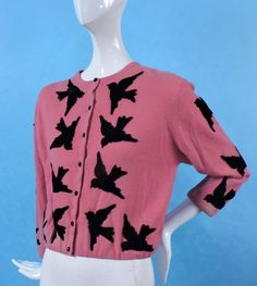 1950s HOT PINK CASHMERE SWEATER W VELVET BIRDS BY HELEN BOND CARRUTHERS in Clothing, Shoes & Accessories, Vintage, Women's Vintage Clothing | eBay