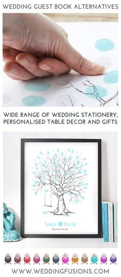 Wedding fingerprint tree with swing - a guest book alternative that makes a beautiful memento for your big day, a unique keepsake to cherish forever. Diy Wedding Gifts, Wedding Gifts For Guests, Diy Wedding Flowers, Tree Wedding, Wedding Signs, Diy Gifts, Unique Gifts, Diy Wedding Stationery, Wedding Invitations