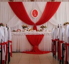 Church Altar Decorations, Red Wedding Decorations, Backdrop Decorations, Baby Shower Decorations, Freesia Bridesmaid Bouquet, Flower Bouquet Wedding, Wedding Ceremony Backdrop, Wedding Table, Red Birthday Party