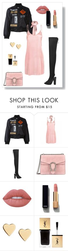 """PinkxBlack"" by milenn-h ❤ liked on Polyvore featuring Kokon To Zai, Gucci, Lime Crime, Chanel, Lipsy, Yves Saint Laurent, modern and vintage"