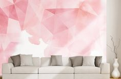 Papier peint triangles roses pour une ambiance féminine. Triangle Rose, Deco Rose, Rose Pale, Construction, Triangles, Home Decor, Walls, Mural Wall, Pink Watercolor