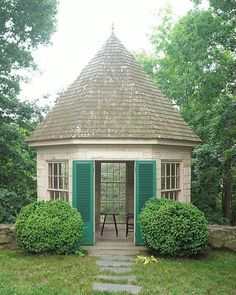 Gary Melchers Home & Studio, Falmouth, Virginia, USA . This most perfect little gazebo for those still chilly, early… Outdoor Buildings, Small Buildings, Home Garden Design, Home And Garden, Outdoor Rooms, Outdoor Living, Playhouse Outdoor, Garden Pavilion, Stone Houses