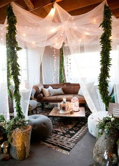 An ethereal canopy encloses an intimate lounge area that looks as if it's straight out of a dream. 10 Lounge Areas That Will Totally Make Your Wedding