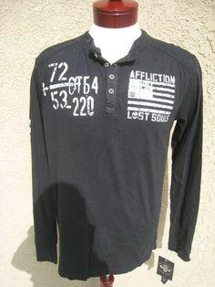 AFFLICTION Long Sleeve T-Shirt Shirt Men's Henley Button front NWT sz M Black
