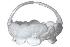 Floral Milkglass Basket