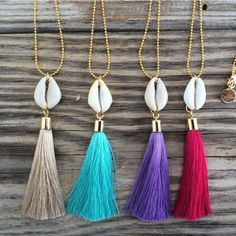 24k goldplated chain with cowrieshell and silk tassel