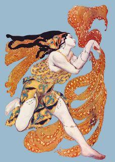 """Léon Bakst expo à L'Opéra Garnier Paris. Leon Bakst drawing for a Costume Design for a Bacchante in """"Narcisse"""" by Tcherepnin, 1911"""