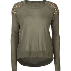 FULL TILT Studded Shoulder Womens Tee (1,200 INR) ❤ liked on Polyvore featuring tops, t-shirts, shirts, outfits, jumpers, olive, t shirt, military green t shirt, crew shirt and army green t shirt