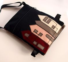 Handmade shoulder bag with applique #bag #purse #messenger #felt #applique #novelty #cotton #pouch #house #home #black #beige #red #brown #art #architecture $50.00