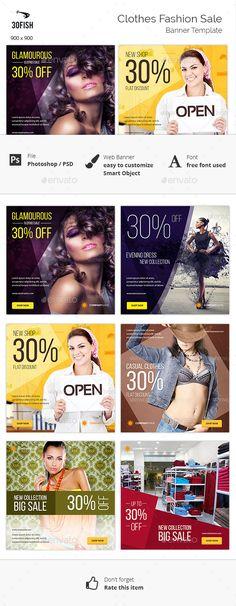 Clothes Fashion Sale Banner Tempalte #design #ads Download: http://graphicriver.net/item/clothes-fashion-sale-banner/12885735?ref=ksioks