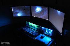 This PC is #custom built into the desk! #megadesk #battlestation #workstation