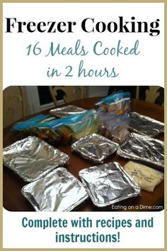 freezer cooking session - 16 meals cooked in 2 hours. I actually think the family might eat most of these with a little modification! Plan Ahead Meals, Slow Cooker Freezer Meals, Make Ahead Freezer Meals, Crock Pot Freezer, Easy Meals, Bulk Cooking, Batch Cooking, Freezer Cooking, Cooking Recipes