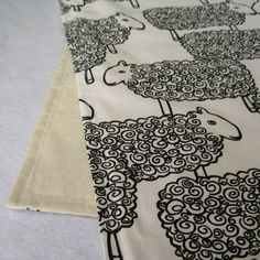 Organic Baby Blanket in Modern Sheep - Childrens Bedding Blanket for Eco Friendly Kids in Black by SewnNatural and White