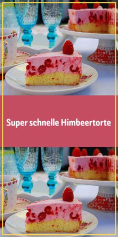 Super fast raspberry cake- Super schnelle Himbeertorte Ingredients: 1 cake base (biscuit) homemade or … - German Desserts, Easy Desserts, Delicious Desserts, Healthy Halloween Treats, Donia, Raspberry Cake, Recipes From Heaven, Cake Plates, No Bake Cake