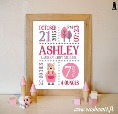 Birth stats print girl baby gift birth stats wall art personalized birth announcement nursery wall art decor date baby name art - n2 marmot by Cashemir on Etsy https://www.etsy.com/listing/242011023/birth-stats-print-girl-baby-gift-birth