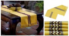 Handmade runner in beautiful yellow sun color. Weaved by the Weaving Heart Women's Group in Guatemala. Yellow Sun, Table Linens, Women's Accessories, Maya, Ottoman, Weaving, Artisan, Interior Design, Chair