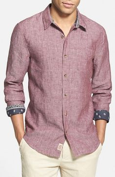 1901 'Shelton' Trim Fit Linen Woven Shirt  Breezy, lightweight linen is tailored into a trim-fitting chambray shirt lined with bandana print fabric inside the collar and cuffs.