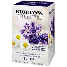 Bigelow Benefits Sleep Chamomile Lavender Herbal Tea Box of 18 Teabags (Pack of Caffeine-Free Individual Herbal Tisane Bags, for Hot Tea or Iced Tea, Plain or Sweetened with Honey or Sugar Lemon Balm Tea, Best Coffee Grinder, Coffee Container, Popular Drinks, Espresso Coffee Machine, Lavender Tea, Peppermint Tea, Chamomile Tea, Tea Box