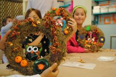 Owl wreaths for our Fall Specialty Class at Lollipop Art Lounge.  www.lollipopartlounge.com