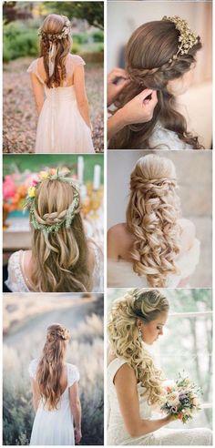 Gorgeous Half-Up Half-Down Hairstyles for Your Wedding. Estilos de peinados de novia recogidos a la mitad, ideal para aquellas que quieren un estilo romántico y muy bohemio.