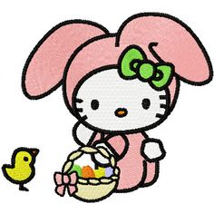 hello kitty embroidery designs | Hello Kitty Happy Easter machine embroidery design