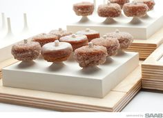 Pinch Food Design co-founder TJ Girard has created a series of sculptural serving pieces that feature thoughtful details that regular serving pieces don't address Mini Desserts, Food Design, Jacques Genin, Tapas, Mini Donuts, Doughnuts, Food Packaging, Dessert Bars, Gourmet